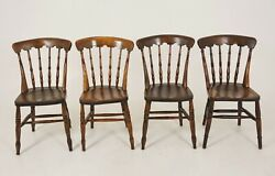 4 Antique Chairs Beechwood Spindle Bar Back Farmhouse Kitchen Chairs B2524