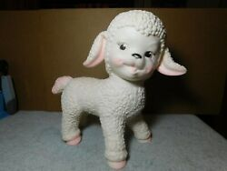 Toysun Rubber Co. Large 10 White And Pink Baby Lamb Vintage/ Antique 1961