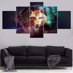 5 Pieces Animal Artistic Wolf Paintings Home Decor Abstract Posters And Prints