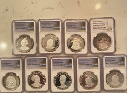 1971 Haiti 10 Gourdes Indian Chieftains Complete Set-graded Ngc-silver Coins