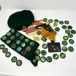 Vtg Girl Scout Sash W Patches Pins Beret Wallet Sterling Frog Ring 1970s