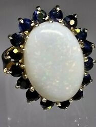 Vintage Magnificent Statement Genuine 9ct Gold Opal And Sapphire Cluster Ring L/m