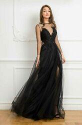 Nwt Designer Sheer Long Sleeve Beaded A-line Evening Gown Uk 10