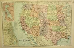1912 Large Antique Map Western United States Inset Plan Chicago San Francisco