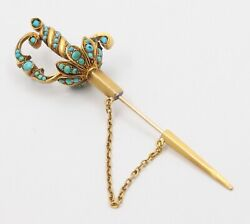 Large Antique French 18k Gold And Turquoise Sword Jabot Pin, Victorian Brooch