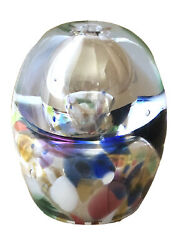 """Art Blown Glass Multicolor Oil Lamp Paperweight 3.5"""""""
