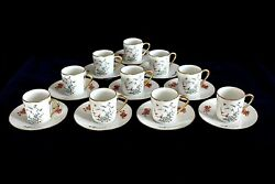 Demitasse Coffee Can Cup And Saucer Set Of 10 From Castel Limoges, Made In France