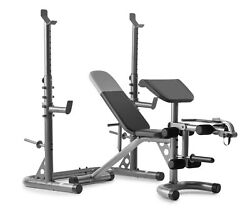 Xrs 20 Adjustable Bench W/olympic Squat Rack And Preacher Pad 610 Lb. Weight Limit