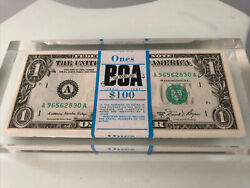 Really Nice Vintage 100 / 1 One Dollar Bills Lucite / Acrylic Paperweight