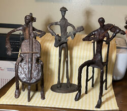 Vintage Hand Made Cast Iron 7+ Lbs Figures Musician Playing Instruments