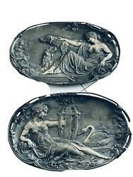 Pair Of French Art Nouveau Silver Over Bronze Rectangular Plaques