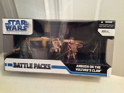 Star Wars Clone Wars Ambush On The Vultureand039s Claw - Four 3.75 Action Figures
