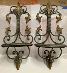 Aged Hanging Metal Wall Shelves Decorative Ornate