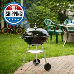 22 Charcoal Grill Built-in Wheels Ash Catcher Cook Bbq Party Outdoor Camping