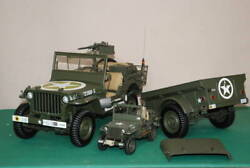 1/8 Achette Virus Mb Jeep Total Length 75cm With Carrier Die-cast Lights On Horn