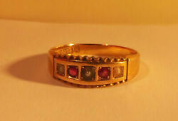 Antique 1893 Rare Keeper Ring Chester 15ct 625 Set Rubies/pearls Size N 1/2