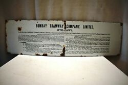 Antique Bombay Tramway Company Bye-laws Sign Board Porcelain Historical Memora2