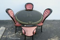 Hollywood Regency Round Pedestal Dining Table And Four Chairs 2128