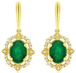 1.56ct Diamond And Aaa Emerald 14kt Yellow Gold Filigree Flower Hanging Earrings