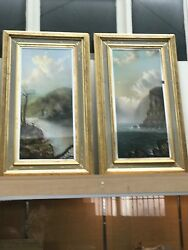 Signed Pair Of Antique 19th C Landscape Oil On Canvas Paintings