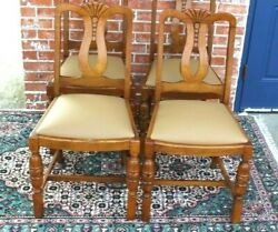 Set Of 4 English Antique Oak Art Deco New Upholstered Chairs