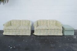 Ethan Allen Hollywood Regency Pair Loveseats Settees And Ottoman 2110