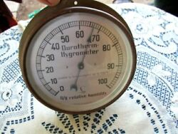 Vintage Lufft Durotherm Hygrometer Germany 0/0 Relative Humidity Brass Patina