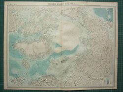1921 Large Map North Polar Regions Pack Ice Explorers Routes And Dates Currents