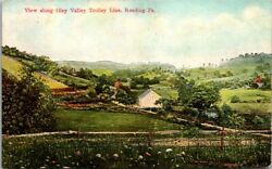 Postcard View Along Oley Valley Trolley Line Reading Pa 1913