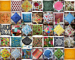 Assorted Cushion Cover Indian Handmade Kantha Work Cotton Vintage Pillow Case16