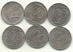 High Grade Lot Of 6 Italy 100 Lire Coins-199319941995199619971998-may233