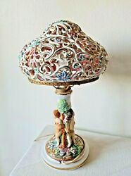 Vintage Capodimonte Porcelain Lamp With Cherub Angels Flowers And Porcelain Shade