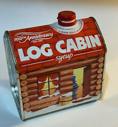 Vintage 1980s Red Log Cabin Maple Syrup Tin Can 100th Anniversary General Foods