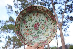 Chinese Antique Hand Painted Rose Medallion Porcelain Plate, Qing Dynasty