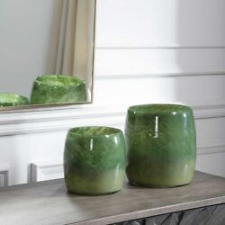 Two Handcrafted Art Seeded Sage And Moss Green Glass Vases Uttermost 17845