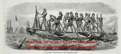 Japanese Whaling Boat Amitori-shiki Whale Hunting, 1860s Antique Engraving Print