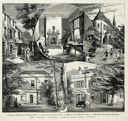Oxford University Somerville College Hall Opening 1st Student 1880 Antique Print