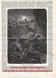 Wolf Hunts 14-point Deer Stag Buck Dramatic 1870s Antique Engraving Print