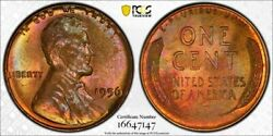 1956 Lincoln Wheat Penny Pcgs Ms65rb True View + Psgs 35 Anniversary Holder