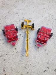 Lot Of 3 Vintage 1960and039s Tootsie Toy Motorcycle Trailers And Tee-nee Boat Trailer