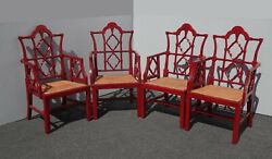 Set Of Four Mid Century Red Chinese Chippendale Chinoiserie Cane Seat Arm Chairs