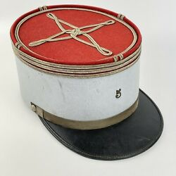 Antique French Military 5th Army Regiment Hepi / Cap / Hat Grey And Red Plazanet