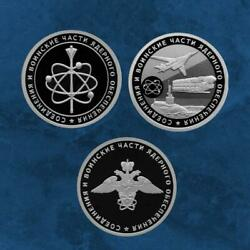Russia - Nuclear Support Units - 3 X 1 Ruble 2019 - Silver - Defence