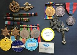Ww2 R.a.f Air Crew Europe Star Group Boac Badges And Fathers Ww1 Krrc Pair And Ism.