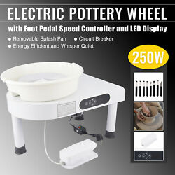 Potters Wheel For Adults And Kids W Sculpting Tools Foot Pedal Led Display White