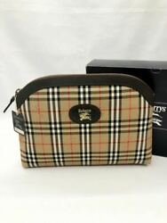 Burberry Cosmetic Pouch Dark Brown Check Multi Case Women #x27;S Bag Second P 60403 $422.31