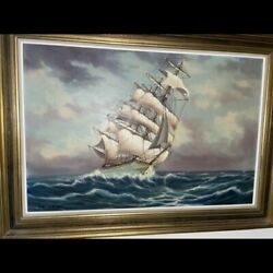Large Ship Painting On Canvas
