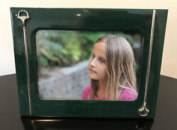 Italy Vintage Dark Green Malachite Color Lacquer Horse Bit Picture Frame
