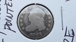 Lot 1824 Over 2 - Pointed 1 One - Capped Bust Silver Dime - Key Date - Rare