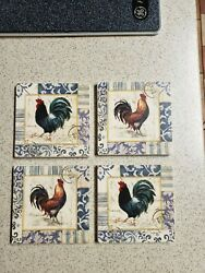 Vtg Geoffrey Allen Rooster Tile Coaster Set 4 Signed Country Rustic Farmhouse